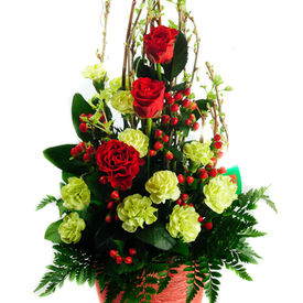 Red and green flower delivery