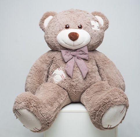 Mr. Bear with patches 150 cm cappuccino flower delivery
